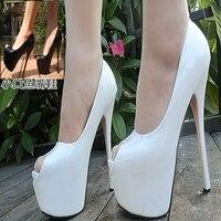 Women Autumn Sexy Prom Patent Leather Black White Peep Toe Red Bottom Platform Thin High Heels