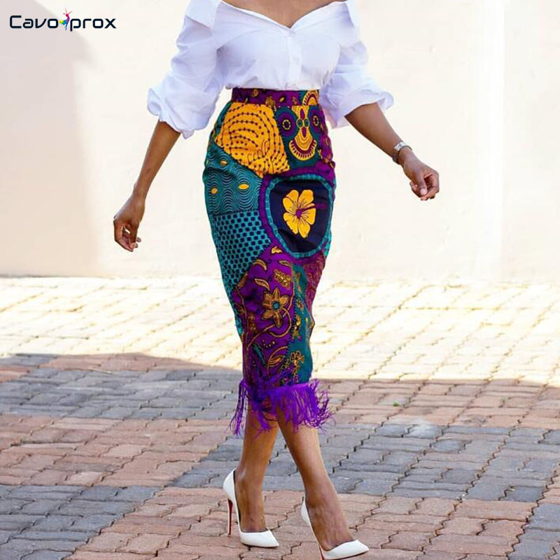 Femmes taille haute flore imprimé frange jupe Street Wear crayon mi-mollet grande taille Slim Fit été Boutique femmes vêtements