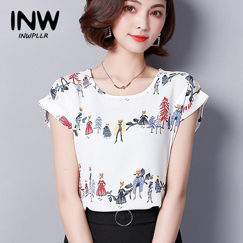 a85f72d9794 2018 Summer Print Chiffon Blouse Womens Tops Blouses Femme Short Sleeve Patterned  Shirts Women Blusas Feminina Moda Plus Size