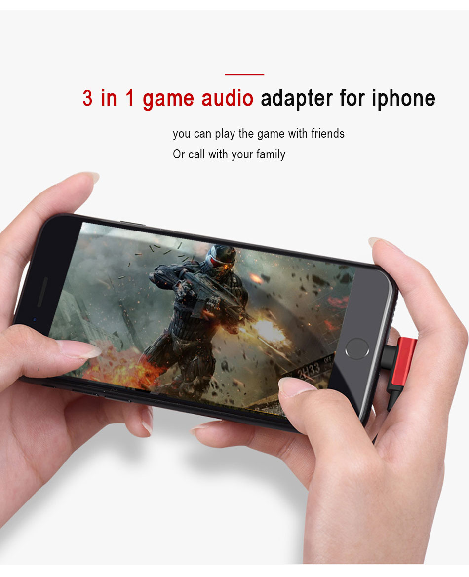 !ACCEZZ 2 3 IN 1 Dual Lighting Charging&Audio&Calling Headphone Adapter For iphone X 8 7 Plus Jack to Earphone AUX Splitter Cables (3)