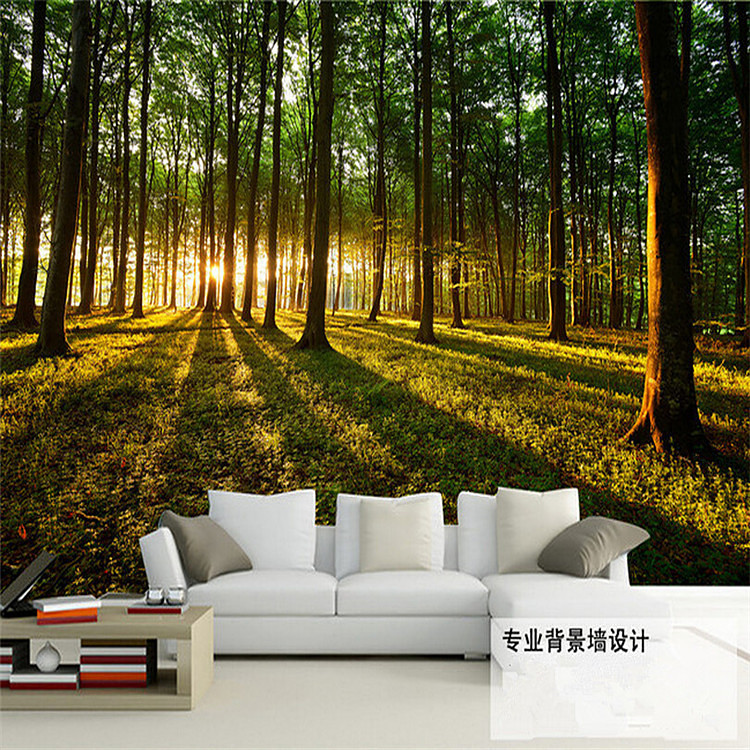 3D stereoscopic large mural space living room sofa bedroom TV backdrop 3D wallpaper wall covering forest landscape forest custom green forest trees natural landscape mural for living room bedroom tv backdrop of modern 3d vinyl wallpaper murals