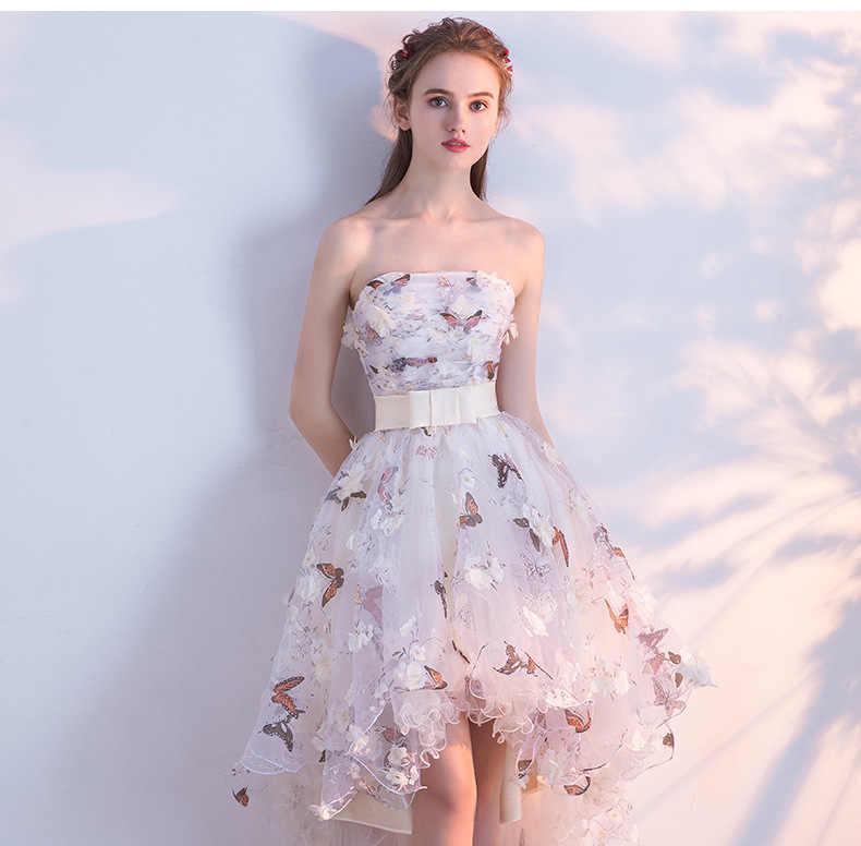 446a2b32089da JaneVini Floral Print Hi-Lo Prom Dresses Butterfly 3D Flowers Strapless  Short Front Long Back Bridesmaid Dresses Robe Demoiselle