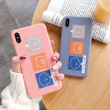 Cartoon animal pig dog phone case for iphone X XS XR MAX TPU matte soft shell For 6 6s 7 8plus fashion candy cover