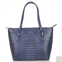 weitasi crocodile Ladies' handbag fashionable large capacity shopping bags of women's leisure bag with navy blue 38*25*11