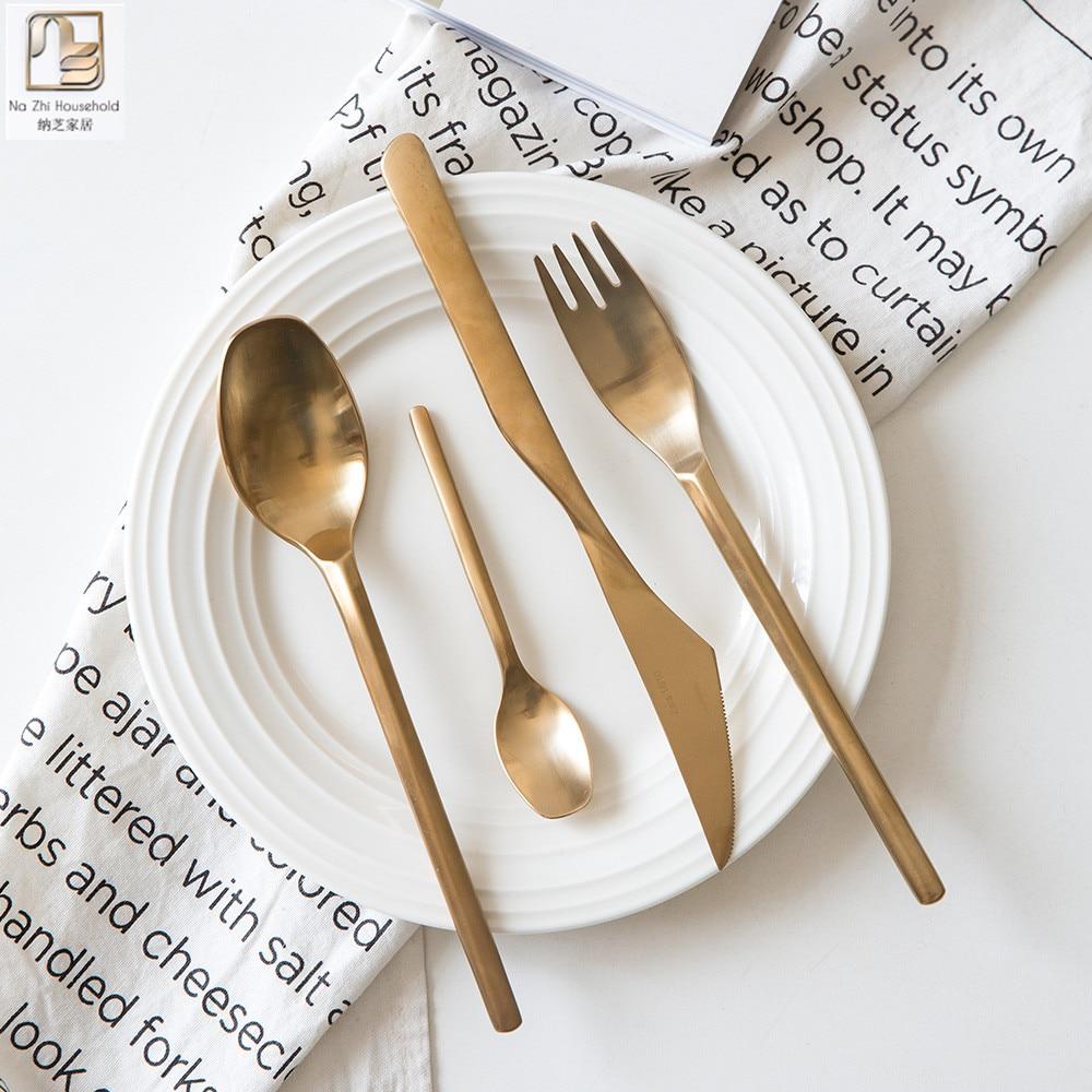 Nazhi 4Pcs/set Medical Grade Stainless Steel Mirror Polish Tableware ...
