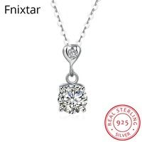 Fnixtar Luxury Authentic 925 Sterling Silver Wedding Pendant Necklace for Women Chain Necklace Female Jewelry Gift For Wife