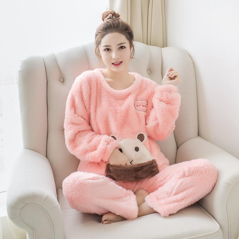 Femmes hiver Pyjama ensemble vêtements de nuit en flanelle Animal Anime vêtements de nuit polaire chaud maison vêtements Kigurumi Pyjama mignon vêtements de couchage