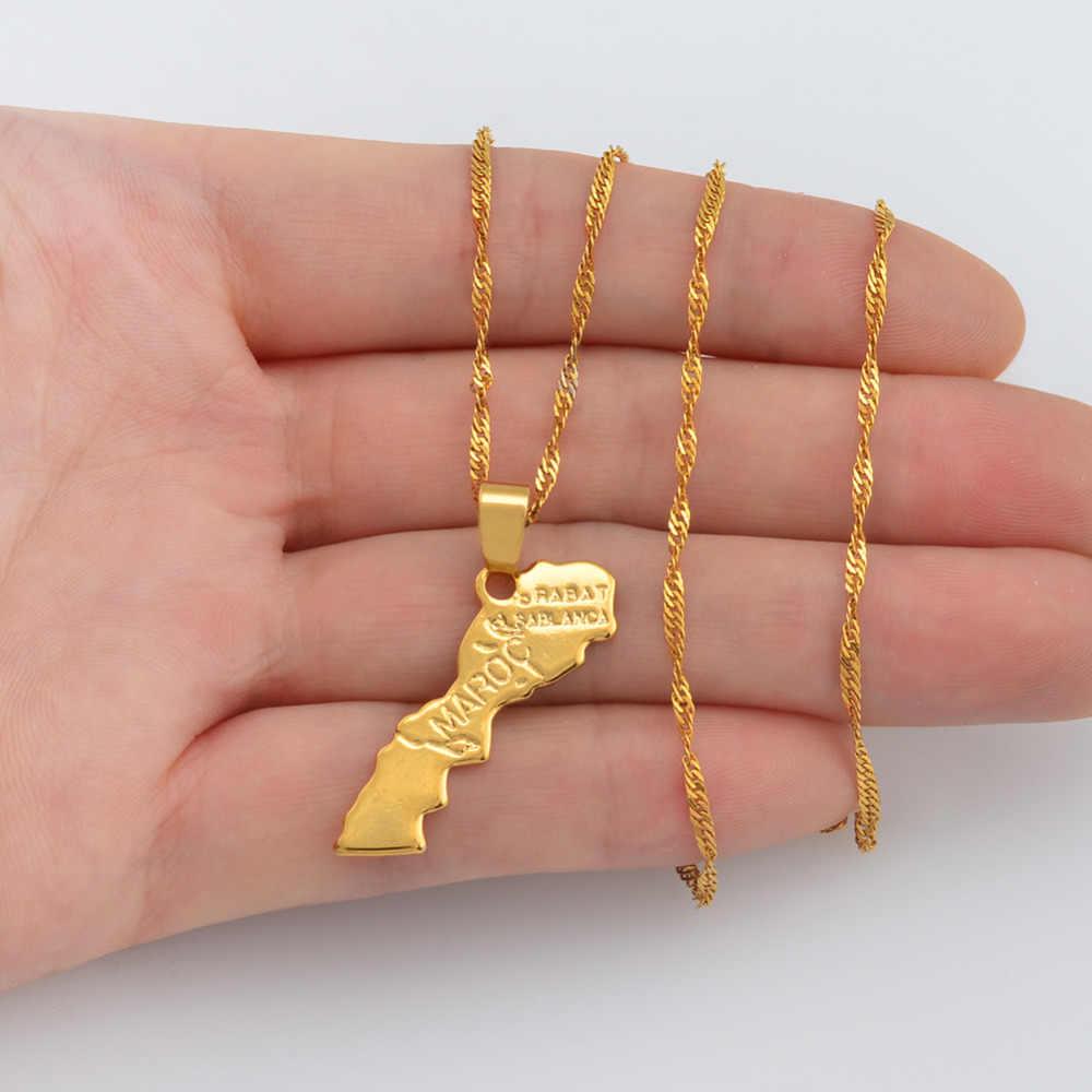 Anniyo Maroc mapa wisiorek naszyjnik złoty kolor moda biżuteria dla kobiet/mężczyzn maroko mapa #200610
