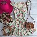 Estilo verão 2016 nova a-line mulheres casual cópia da flor vestidos de noite elegantes cinta sem mangas com decote em v vestido de festa dress