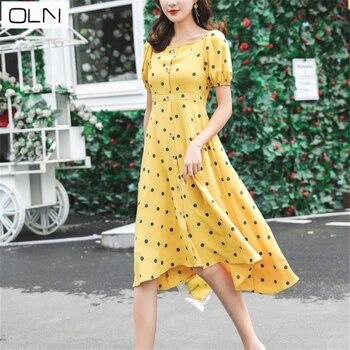ad87eee9de5 OLN весна-лето французское Ретро чайное платье Хепберн ветровое платье для  девочек летнее платье с талией платье для талии S-2XL