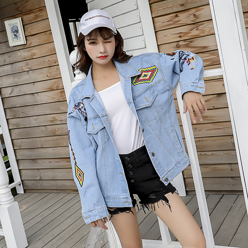 Harajuku Fashion Women   Basic     Jacket   Coat Chic Geometric Cow Head Embroidery Denim   Jacket   Women Retro Cotton Loose   Jacket
