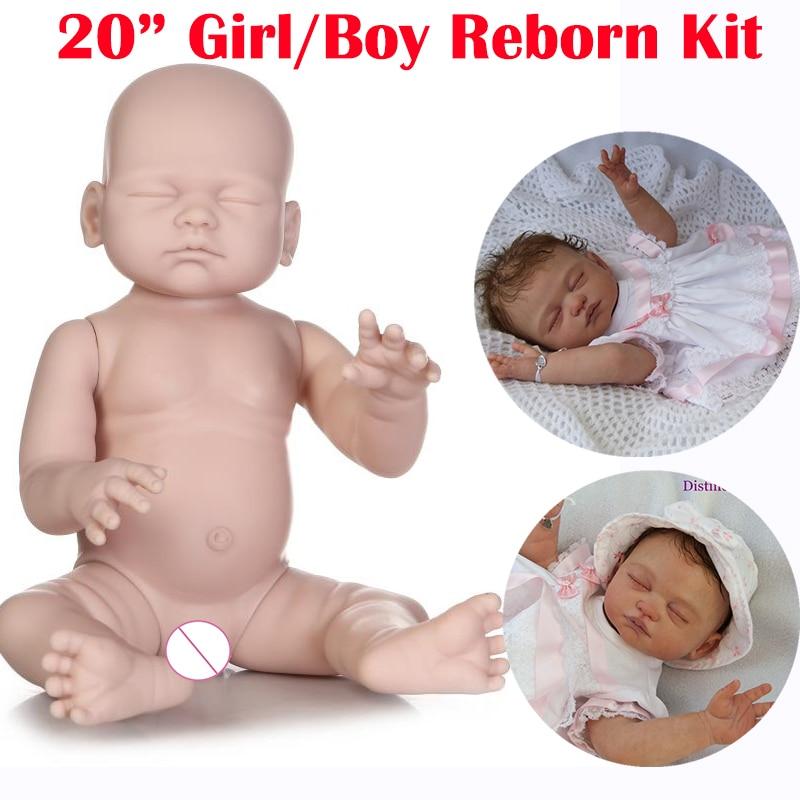 Full Vinyl Silicone Reborn Baby Dolls Kit Lifelike Doll Kit Boy Body Kit New A+