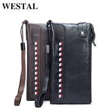 WESTAL Praktische Echtem Leder Mode Für Männer Brieftaschen Kartenhalter Männer Lange Brieftaschen Geldbörse Männlichen Kupplungs Mann Brieftasche 9091
