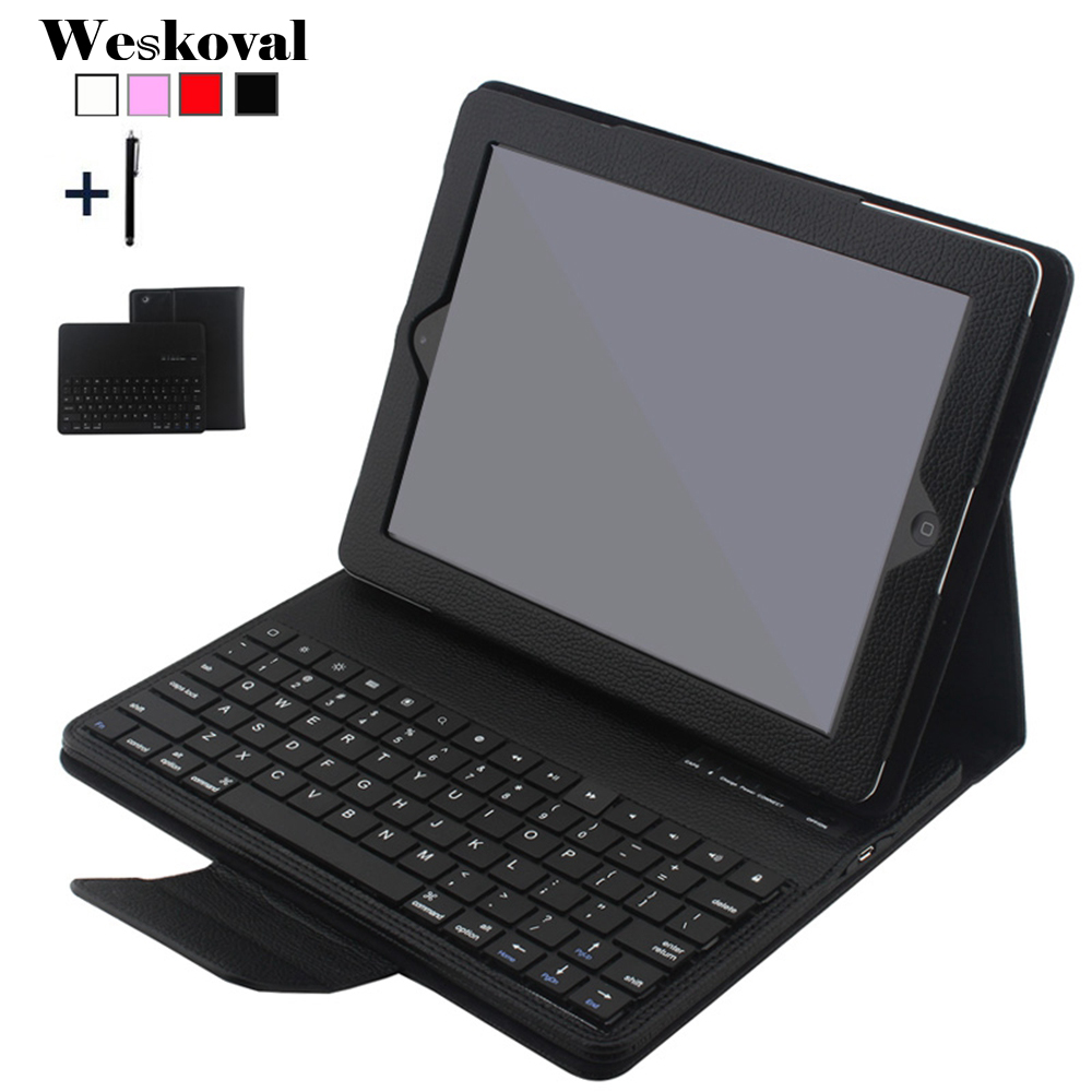 For iPad 2 3 4 Wireless Bluetooth Keyboard Case For iPad 2/3/4 Tablet Detachable Flip Leather Stand Cover Capa Fundas+Stylus laptop keyboard for hp for envy 4 1014tu 4 1014tx 4 1015tu 4 1015tx 4 1018tu backlit northwest africa 692759 fp1 mp 11m6j698w