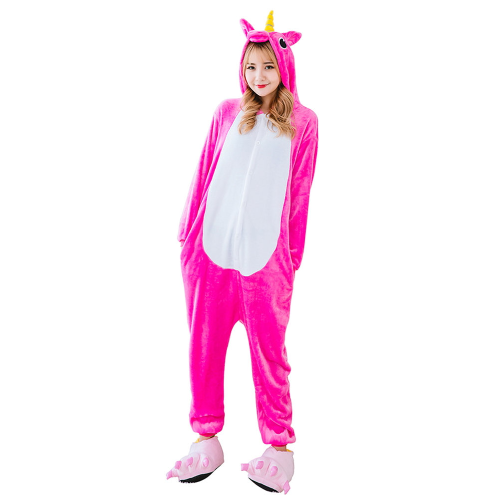 Adult Unicorn Onesies Animal Pajama Sets Pyjamas Women Pijamas Unicornio Sleepwear Night Suit One Piece Winter Warm Wear