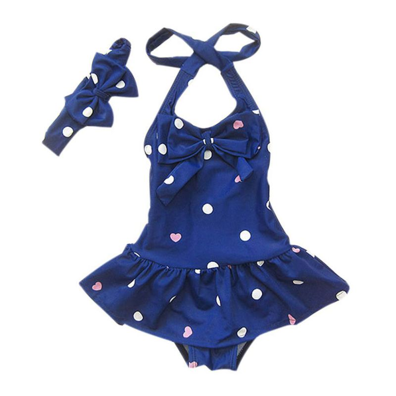 Bathing Children's Swimsuit Clothes Girls Beach Dots Girl Swimwear Printed For Baby Headband One-piece