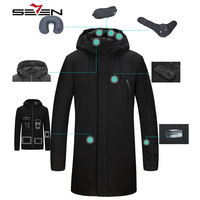 Seven7 Brand 2019 Long Travel Jacket Men Smart Jacket Inner Parka Tablet Pockets Band Pillow Eye Mask Built in Glove 113K20440