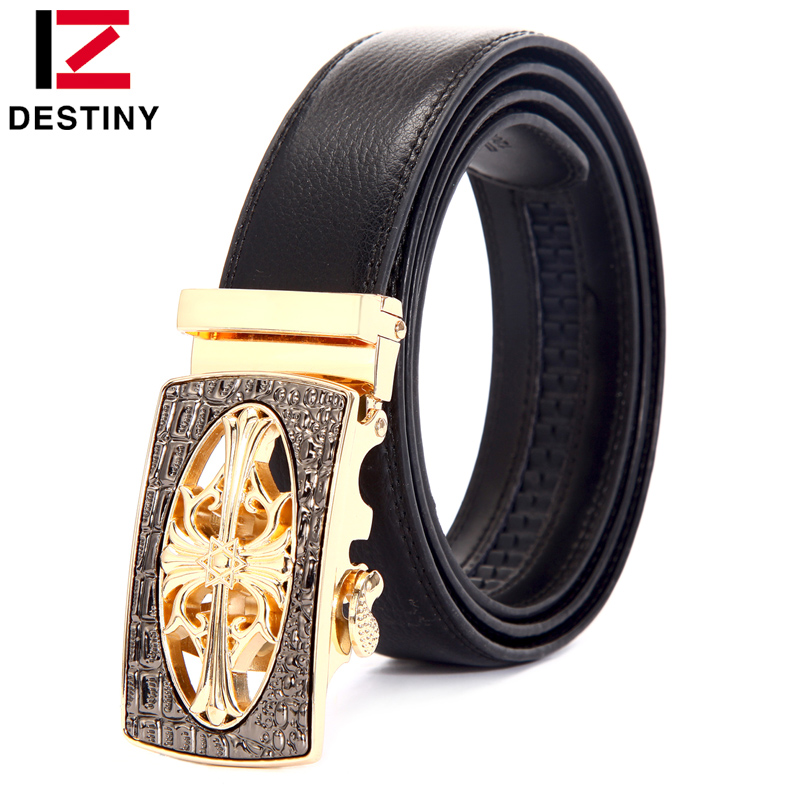 DESTINY New Designer   Belts   Men High Quality Luxury Brand Male Genuine Leather Strap Metal Automatic Buckle Jeans Ceinture Homme