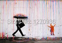 modern wall art decoration a child with the word man who take bag in pink rainy day only handmade oil painting