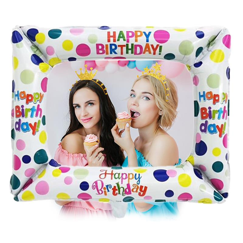 Happy Birthday Foil Balloon Photo Frame Photo Booth Props BabyShower Birthday Party Decorations Adult Supplies Photobooth 2019