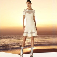 Top Quality HL Beige Black Hollow Out O-Neck Short Sleeve A-Line Sexy Bandage Dress Sexy Fashion Party Dress