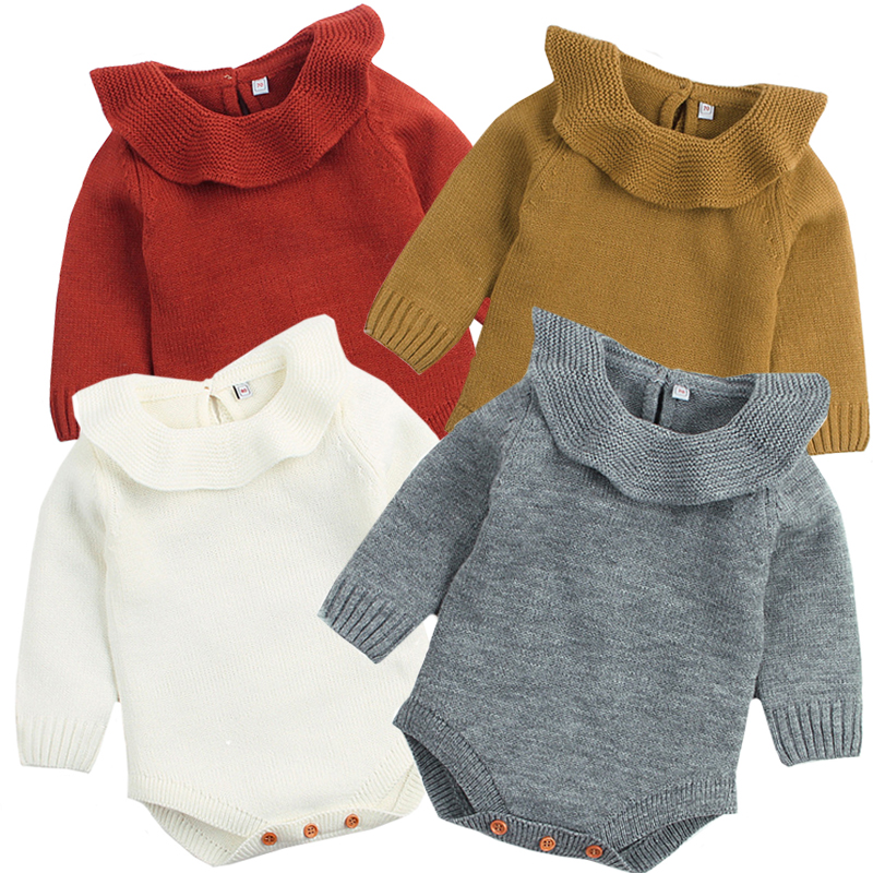 Baby Boy Girl Autumn Winter Clothes Long Sleeve Solid Color Knitted Warm Romper Jumpsuit Playsuit Newborn Clothes