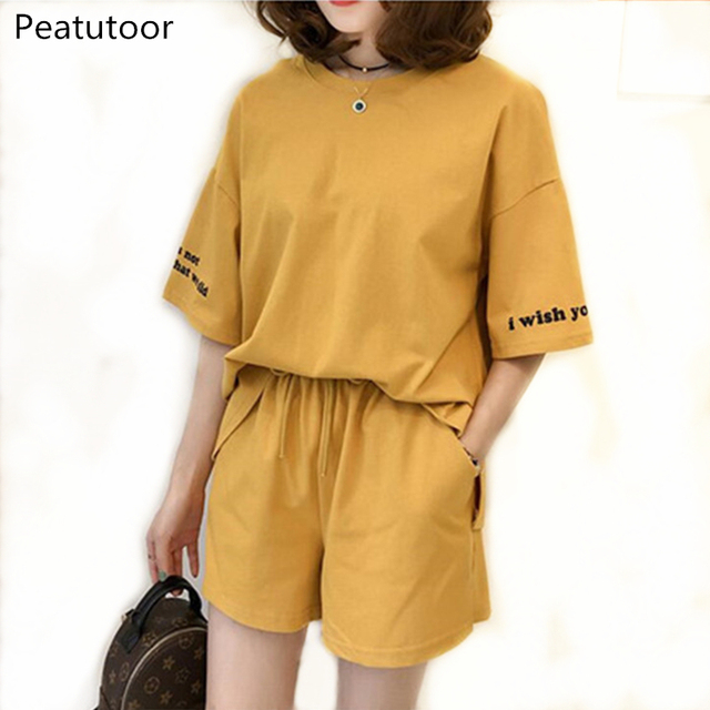 2018 Summer Cotton Casual Tracksuit for women's Clothes Two Piece Set Suits Short Sleeve Letter T Shirt Crop Tops+Shorts Pants