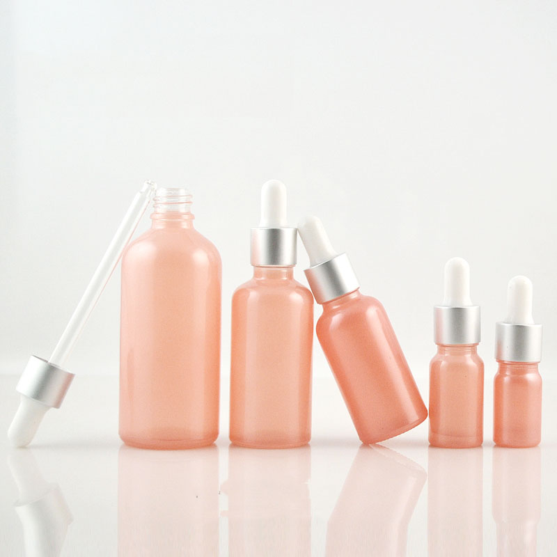 5ml Pink Sprayed Glass Bottle 10ml Essential Oil Bottle 15ml Glass Dropper Bottle 20ml Refillable Cosmetic Containers Bottles