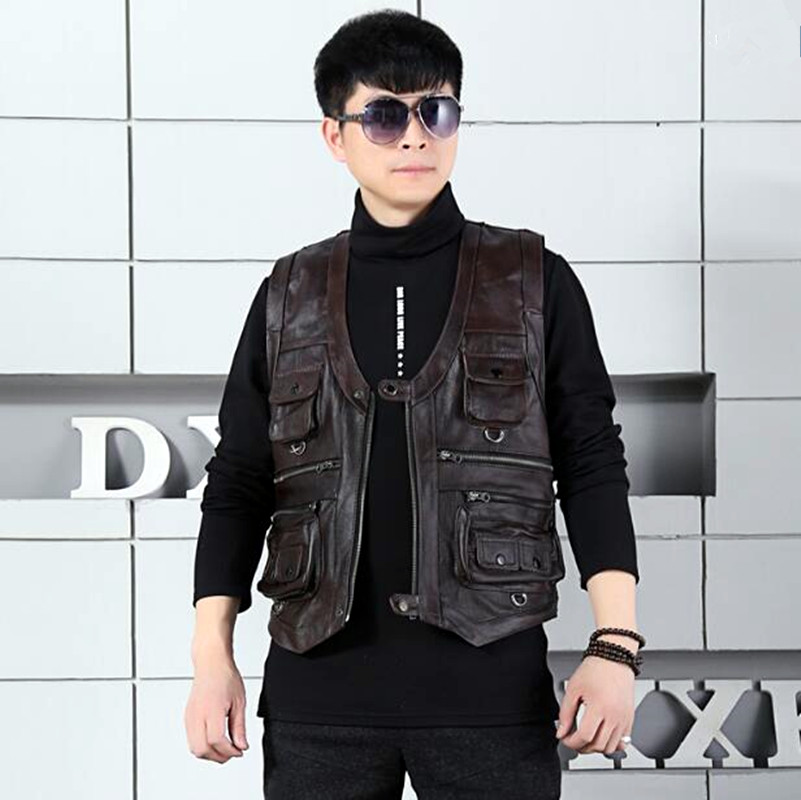 Special Section Mens Cow Genuine Leather Vest Reporter Vest Waistcoat Tank Top Jacket Motorcycle Vest High Quality Goods Vests & Waistcoats Jackets & Coats