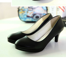 women work shoes high-heeled black single shoes women's pumps office shoes 7.5cm height