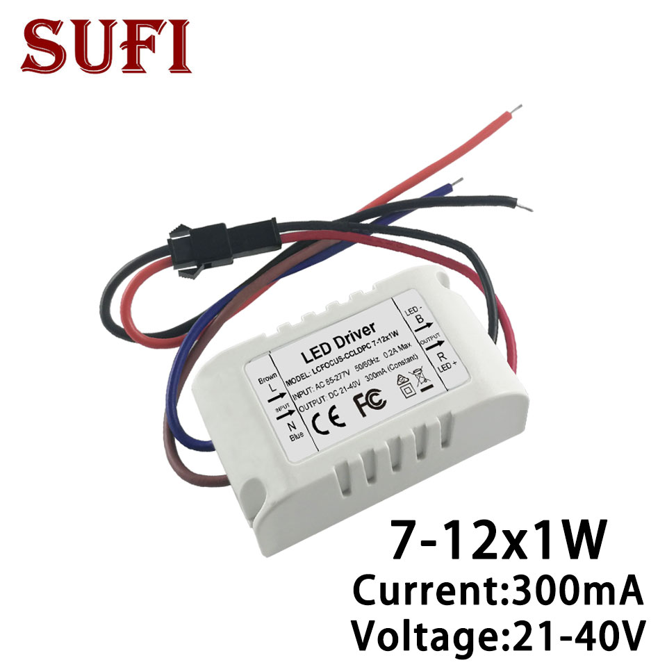 7W 8W <font><b>9W</b></font> 10W 11W 12W <font><b>LED</b></font> <font><b>Driver</b></font> Constant Current 300mA DC21-40V Lighting Transformers Power Supply For DIY Spotlight Bulb Light image