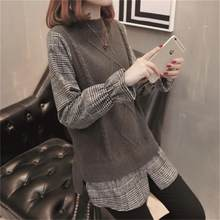 Модные женские свитер поддельные из двух частей блузка Осень 2018 новый  корейский вариант свободные вязаный свитер e1329760939