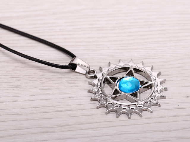 Black Butler Anime Demon Contract Blue Crystal Metal Pendant Necklace