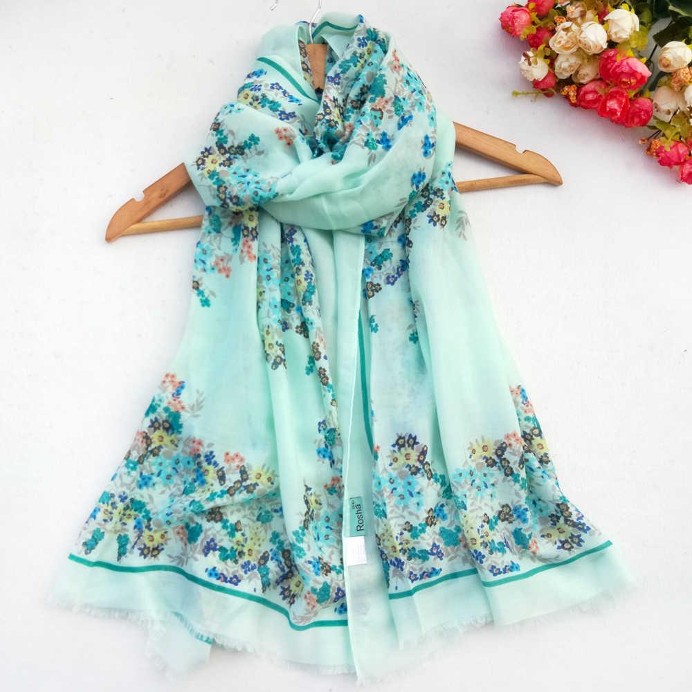 1PC 新綿女性ロングスカーフファッションフラワープリントヒジャーブ Pashimina ソフト薄型秋夏ビスコース品質のスカーフ卸売