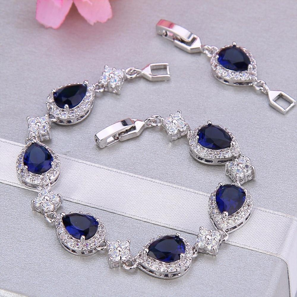Bella Fashion Elegant Teardrop Bridal Bracelet Blue Cubic Zircon Bracelet For Women Wedding Accessories Party Jewelry Gift pair of elegant faux gem zircon oval floral bracelet for women