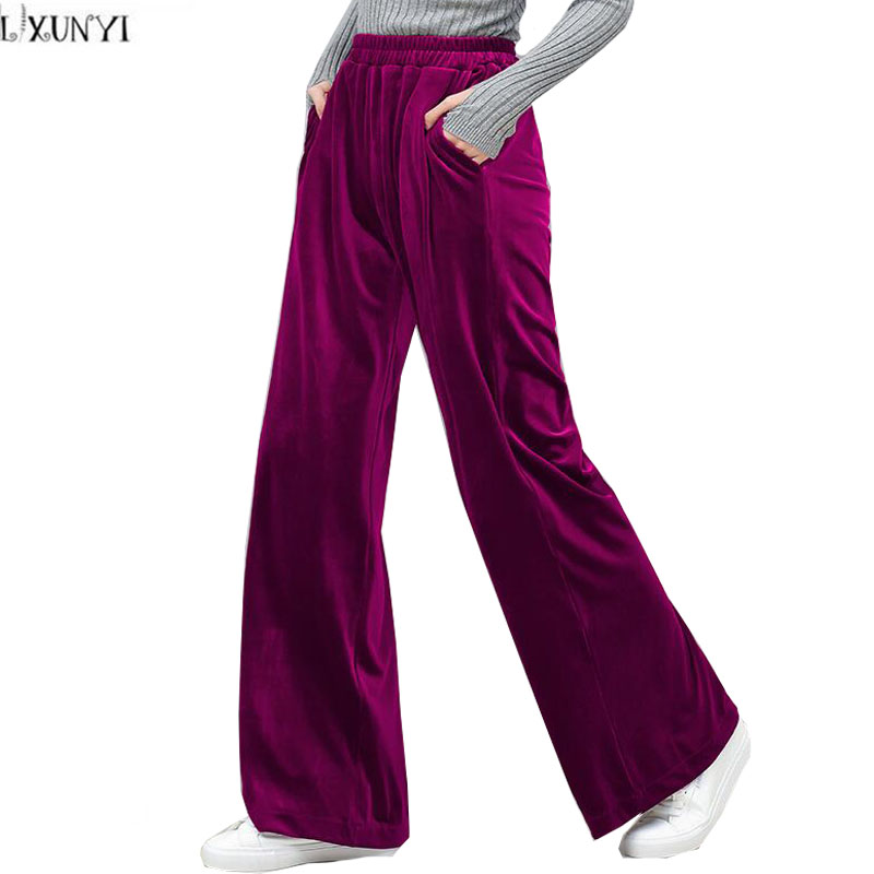 LXUNYI 2019 Autumn Winter New Velvet   Wide     Leg     Pants   Pocket Elastic Waist Women's Trousers Loose High Waist Casual   Pants   Purple