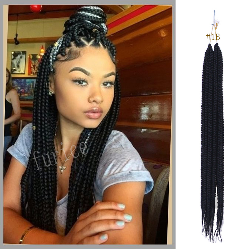 Crochet Box Braids Hair Brown Synthetic Braiding
