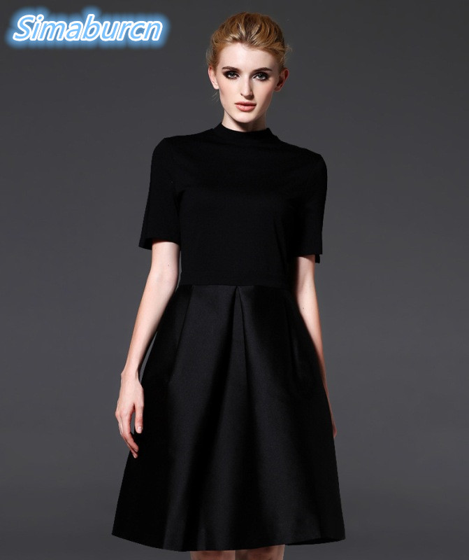 Summer Elegant Women Casual Solid Color Half Sleeveless Loose Cotton O-Neck Black Dress Ladies Noble Party Clothing Vestidos