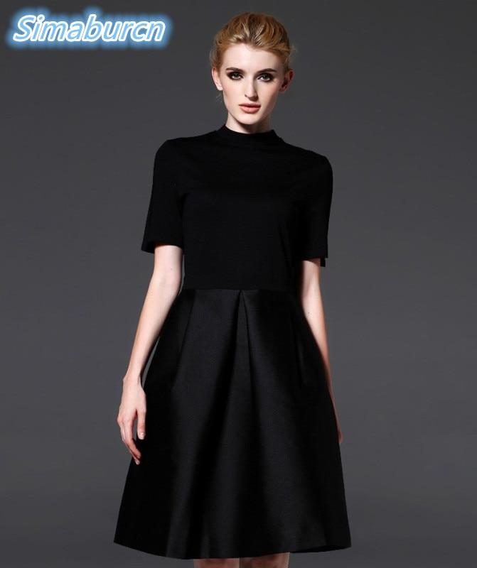 Léto Elegantní Dámské Neformální Jednobarevné Poloviční rukávy Volné Bavlněné O-Neck Černé Šaty Dámy Vznešené Party Oblečení Vestidos