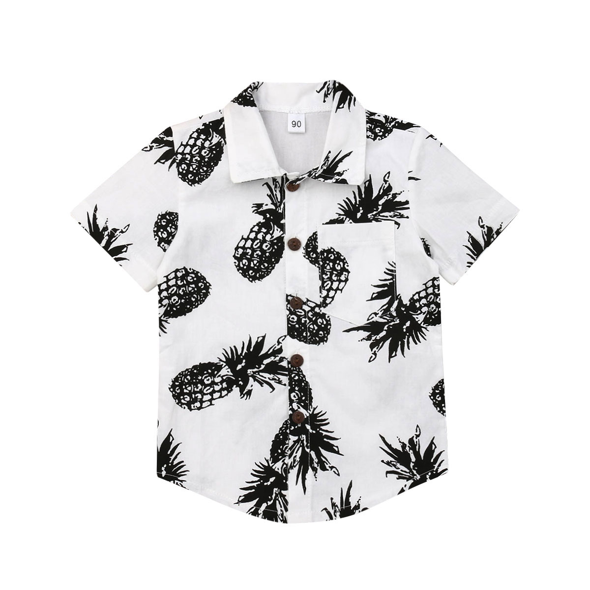Pudcoco Tops Pineapple-Shirts Short-Sleeves Button-Up Boys Kids Summer Casual Beach