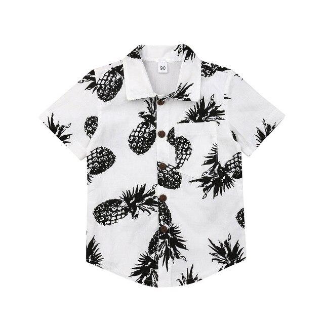 Pudcoco 2019 קיץ ילדים בני אננס חולצות כותנה כפתור עד פעוט חולצה קצר שרוולים מזדמן חוף בגדי חולצות