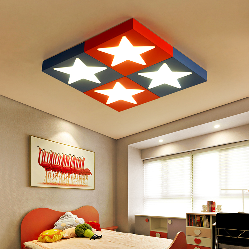 Children lamp LED ceiling lights Children's room cartoon creative personality bedroom boy eye star red blue ceiing lamp ZA ET72 creative cartoon baby cute led act the role ofing boy room bedroom chandeliers children room roof plane light absorption