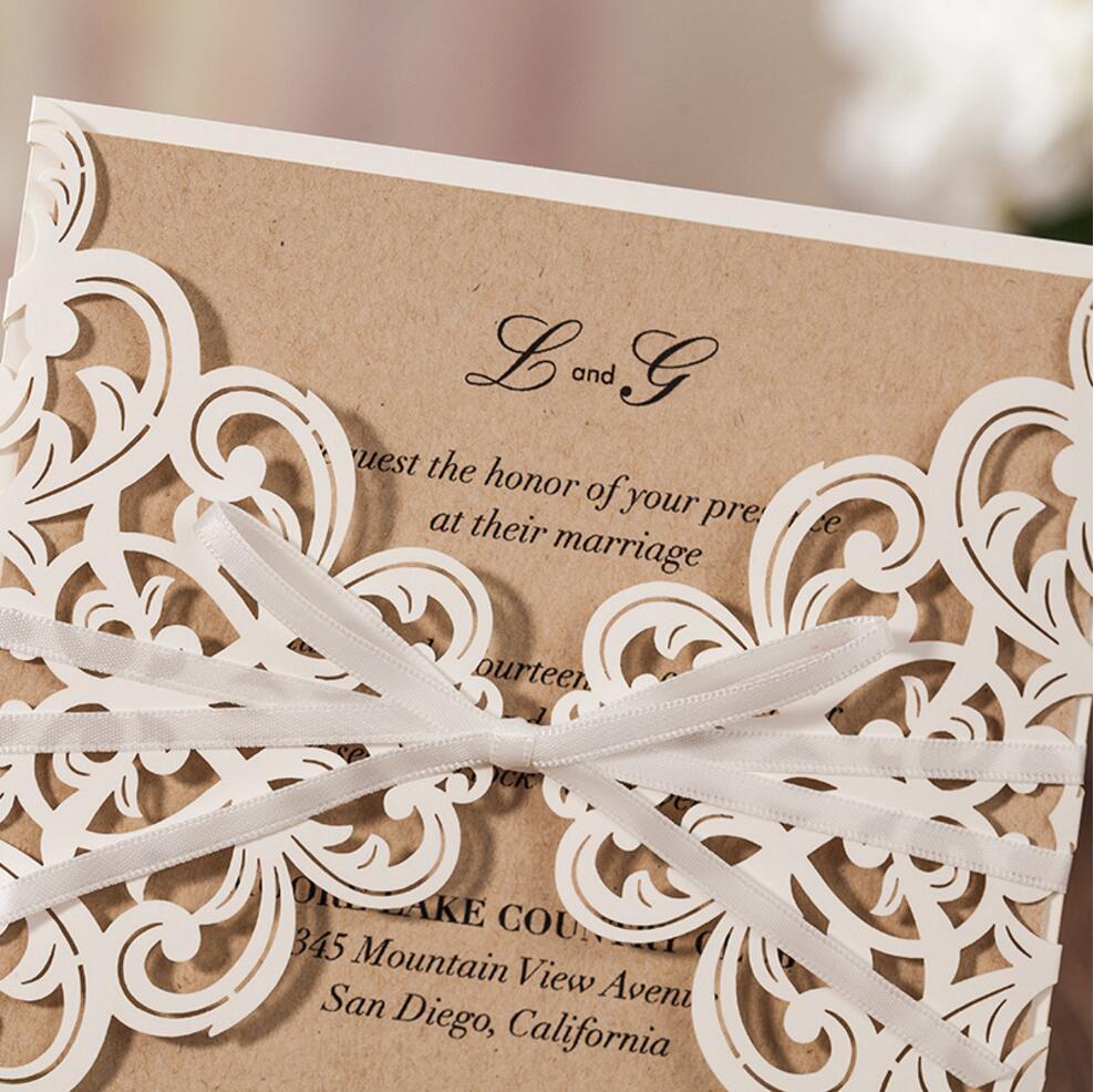 Estremamente Rustico tema taglio laser biglietti d'invito di nozze, festa di  CO77
