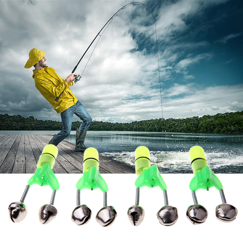 4Pcs LED Fishing Rod Bite Alarm Bells Fishing Rod Red Light Stainless Steel Fish Alerter Fishing Tool Accessories