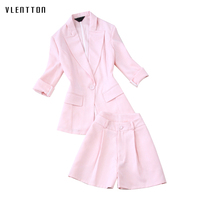 2019 New Fashion Two Piece Set Women 3/4 sleeve Elegant Office Blazer and shorts Women's Suit Spring summer Casual Pink Set