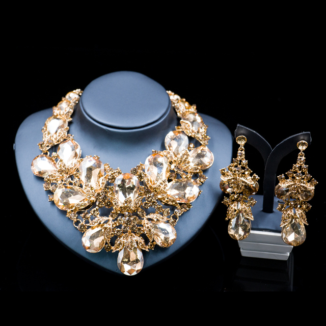 Lan palace Luxury gold color jewelry set for women Rhinestone necklace and earrings for wedding six colors  free shipping