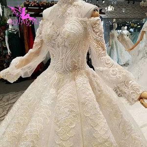 Image 1 - AIJINGYU свадебное платье и роскошные платья дешевые рядом со мной кружева индийские красивые платья свадебное платье принцессы