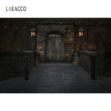 Laeacco House Exterior Arch Door Brick Wall Dusk Photography Backgrounds Customized Photographic Backdrops For Photo Studio