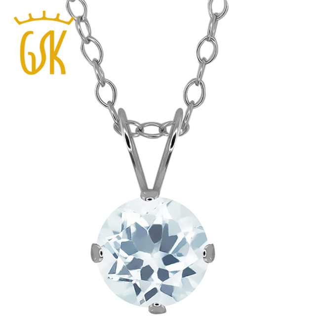GemStoneKing 0.75 Ct Round Shape Natural Sky Blue Aquamarine Sterling Solitaire Pendant Necklace For Women