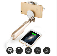 Nieuwe 3 in-1 uitschuifbare kabel selfie stick monopod met spiegel flasher + 3200 mah power bank + opvouwbare houder voor iphone 6/7 telefoon